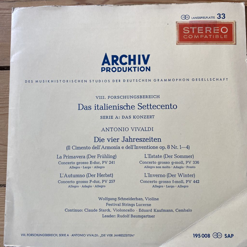 195 008 SAP Vivaldi The Four Seasons / Schneiderhan / Baumgartner