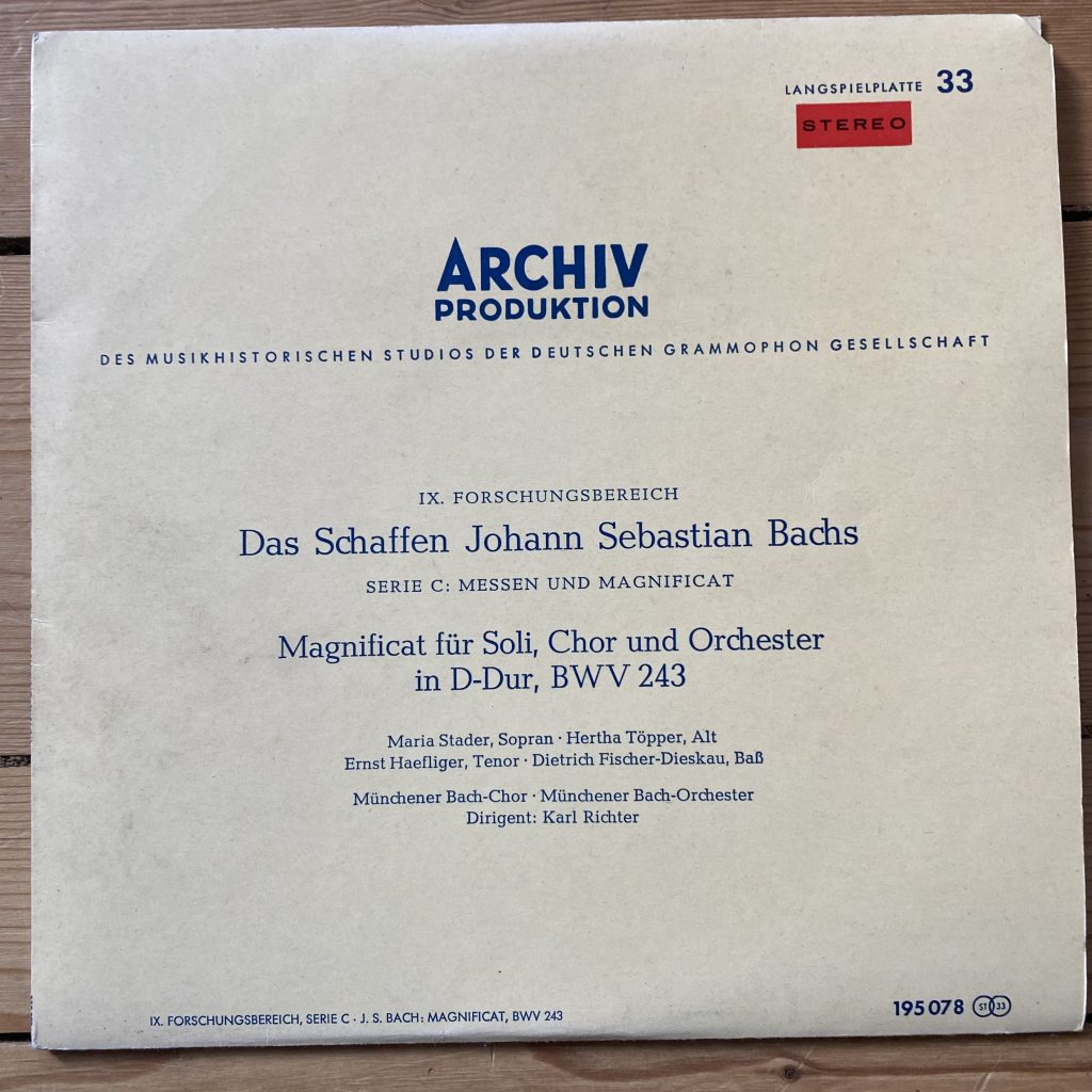 195 078 Bach Magnificat BWV 243 / Stader etc.
