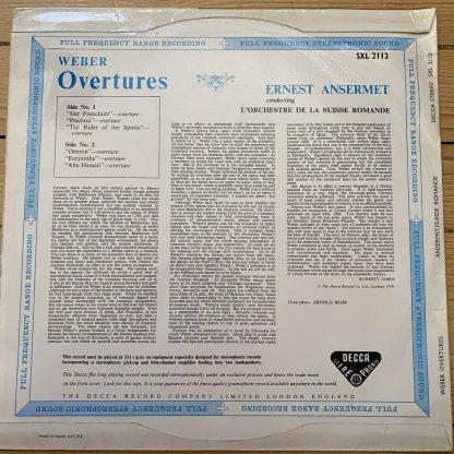 SXL 2112 Weber Overtures / Ansermet / OSR W/B BBB