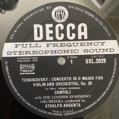 SXL 2029 Tchaikovsky Violin Concerto / Campoli / Argenta