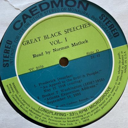 TC 2070 Great Black Speeches read by Claudia McNeill & Norman Matlock