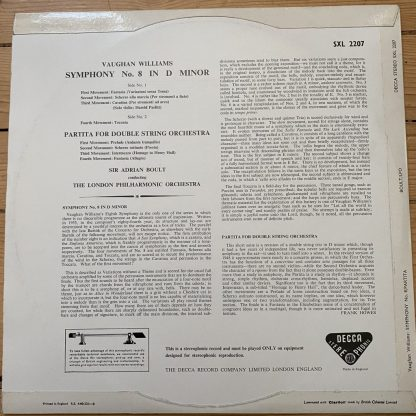 SXL 2207 Vaughan Williams Symphony No. 8, Partita